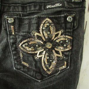 Miss Me Skinny Jeans 27 Faded Black Floral Sequin
